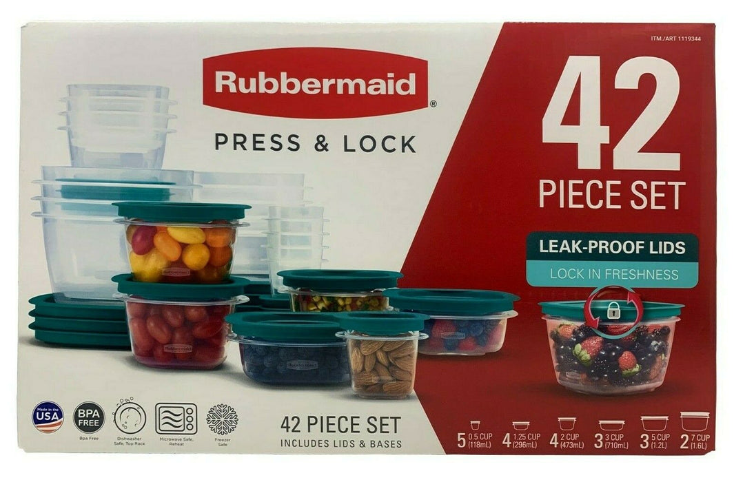 Rubbermaid Press and Lock Containers with Leak-Proof Lids and Bases 42 Piece Set