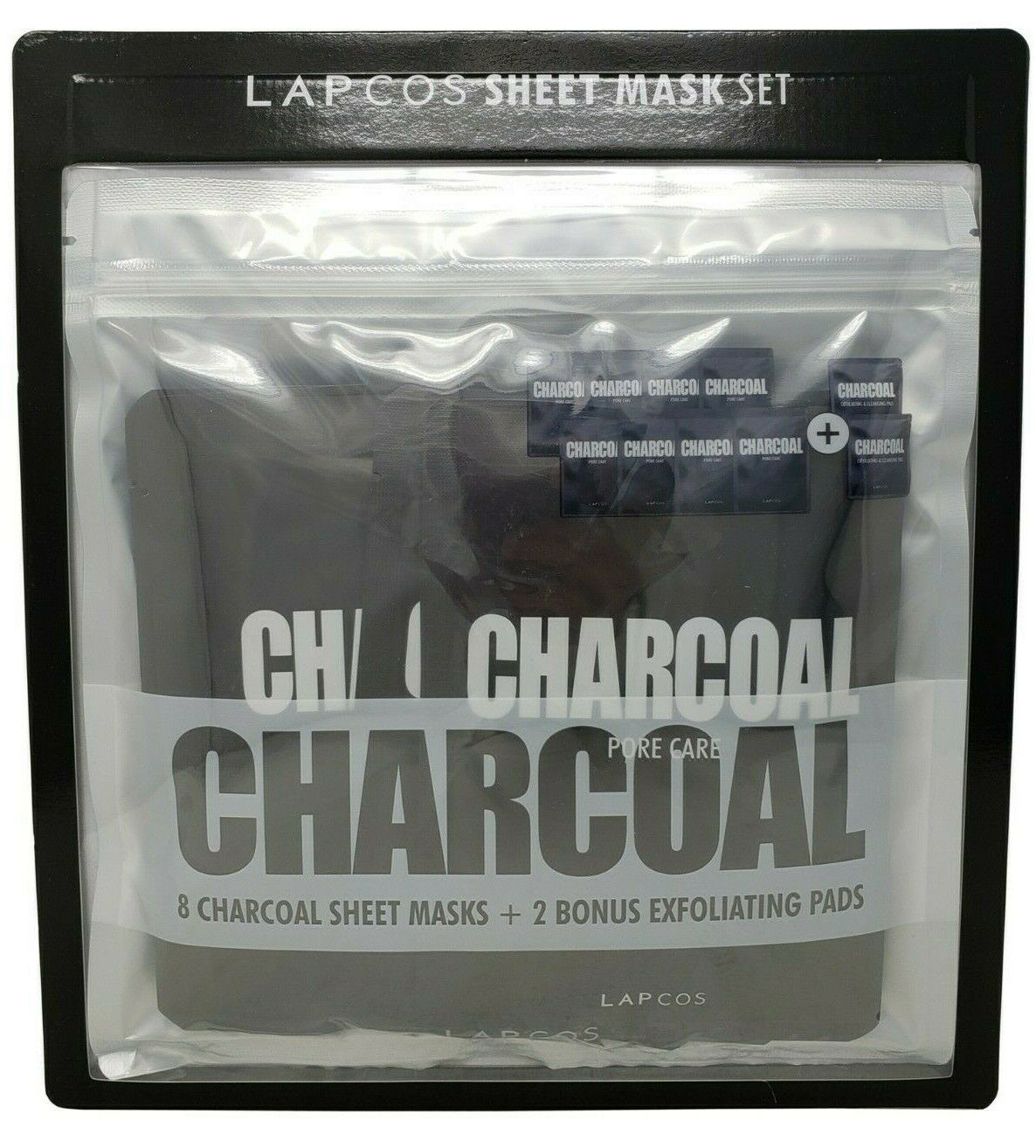 Lap Cos Charcoal Sheet Mask Set 8 Pack + 2 Exfoliating Pads