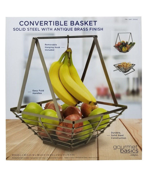 Mikasa Gourmet Basics Convertible Basket - Solid Steel with Antique Brass Finish