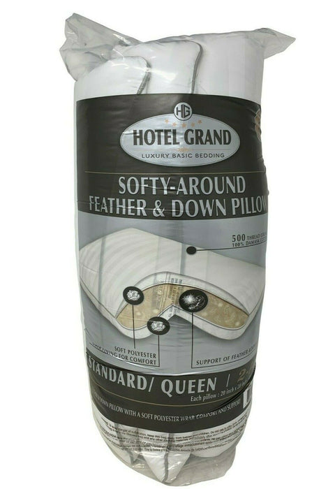 "Hotel Grand Softy-Around Feather & Down Pillows 500 Thread Queen 20x28"" - 2 Pack"