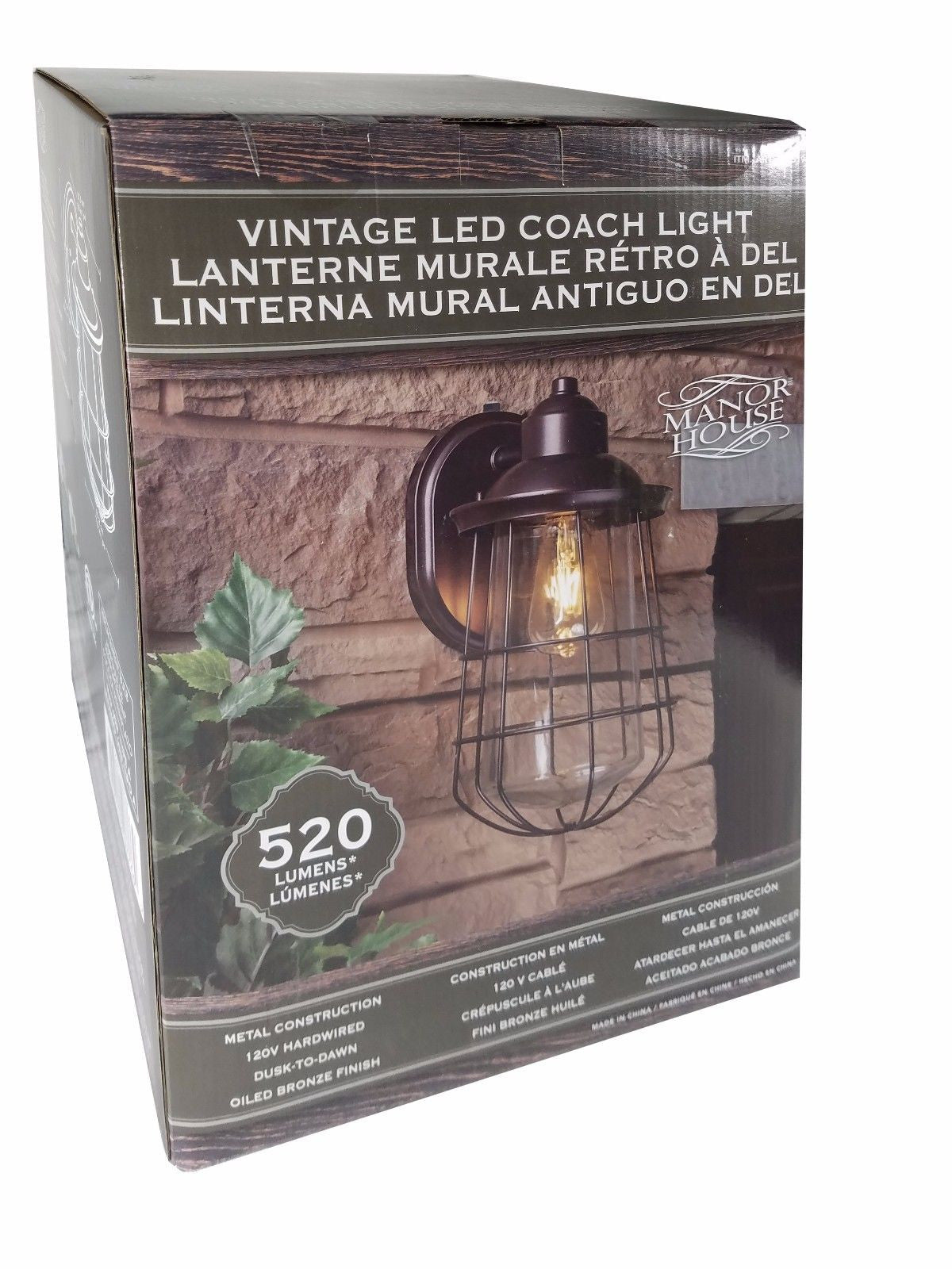 Manor House Vintage LED Coach Light Metal Construction Bronze Finish 520 Lumens