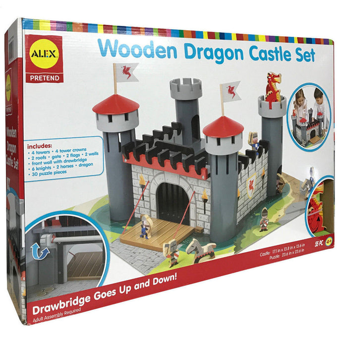 Alex Pretend Wooden Dragon Castle Set with Manual Working Drawbridge 55 Pieces