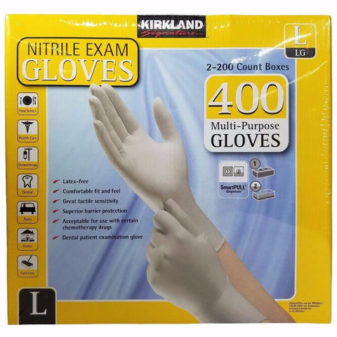 Kirkland Signature Nitrile Exam Gloves Latex-Free Multi-Purpose 400 Pack - Large