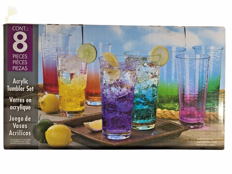 FDG Acrylic Tumbler Set 24oz Multi-Color Cups 8 Pieces