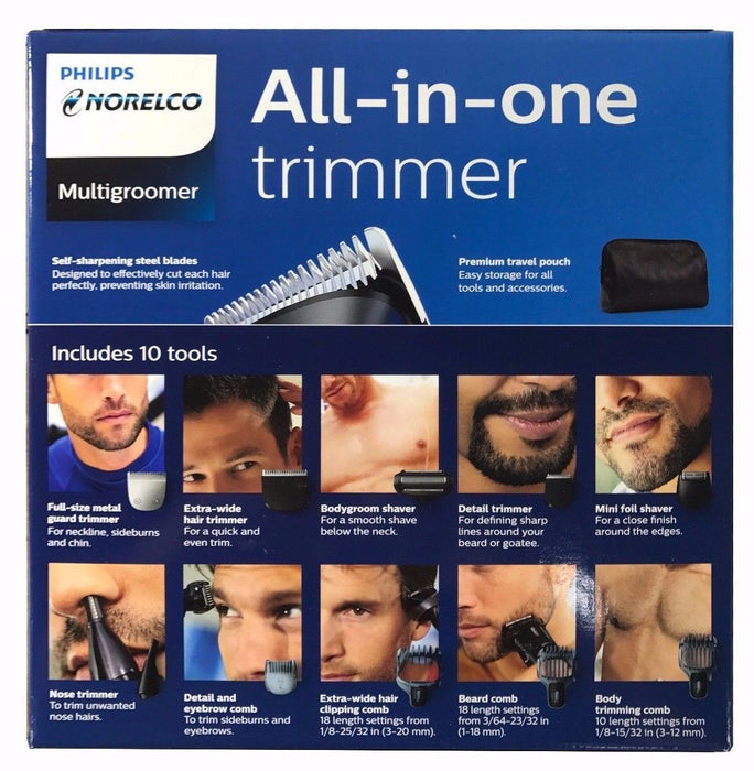 Philips Norelco Multigroomer All-in-one Trimmer Face Head Body with Travel Pouch
