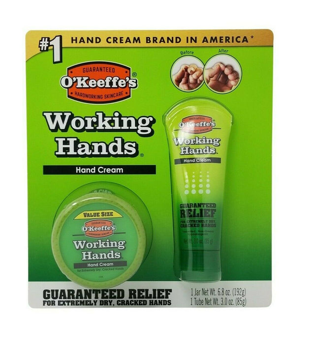 O'Keeffe's Working Hands Hand Cream Guaranteed Relief 6.8 OZ Jar & 3 OZ Tube