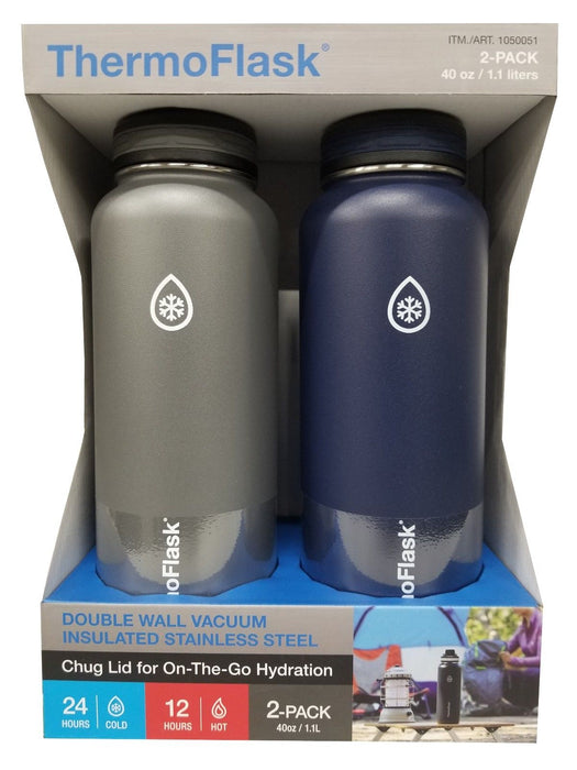 Takeya ThermoFlask 40oz Double Wall Vacuum Insulated 2 Pack - Gray & Navy Blue