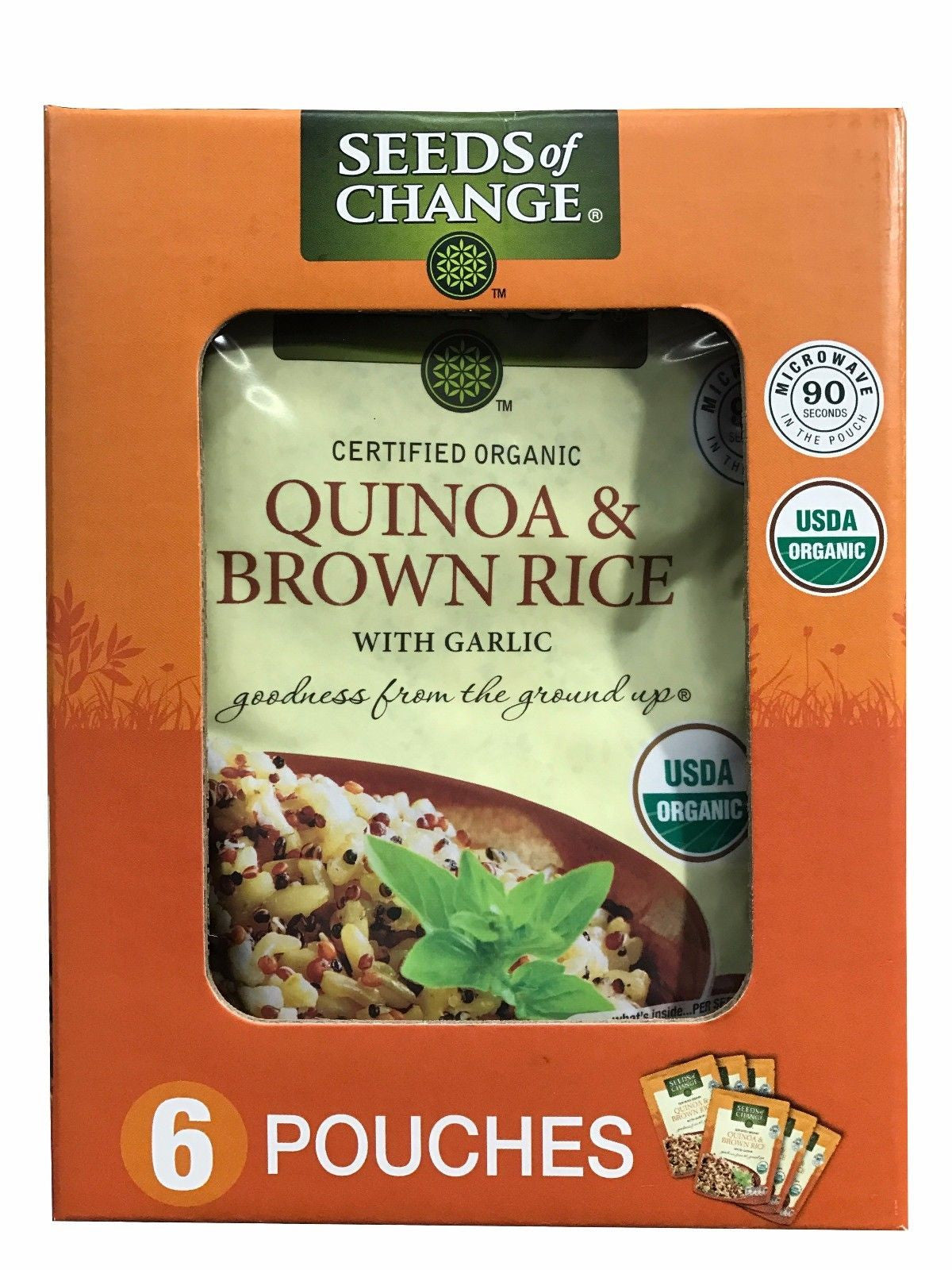 Seeds of Change Organic Quinoa & Brown Rice with Garlic 6 Pouches 3.2 LB