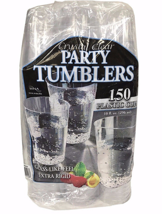 Crystal Clear Party Tumblers 10 fl oz Plastic Cups Rigid, Glass-like 150 Ct