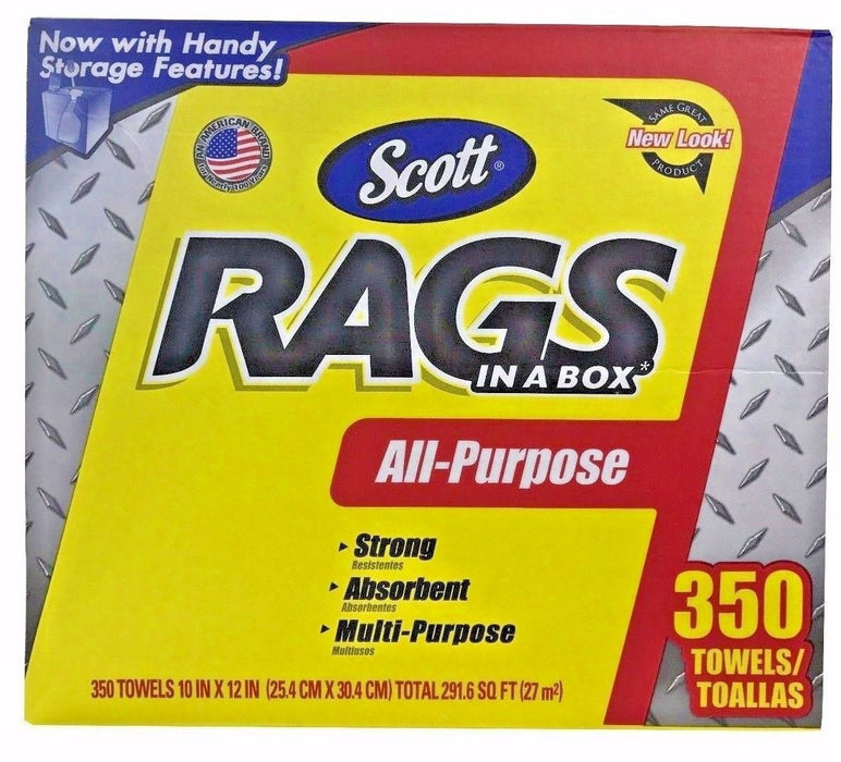 "Scott Rags in a Box 10x12"" All-Purpose, Strong, Absorbent 350 Towels"