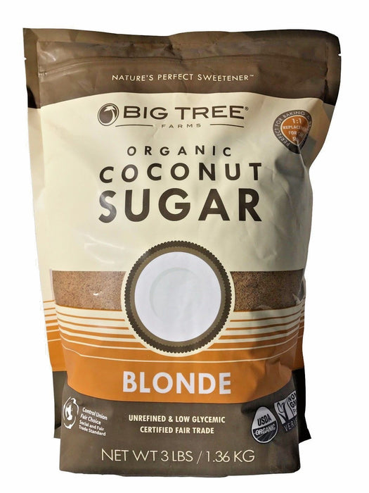 Big Tree Farms Organic Coconut Sugar Blonde Unrefined & Low Glycemic 3 LB