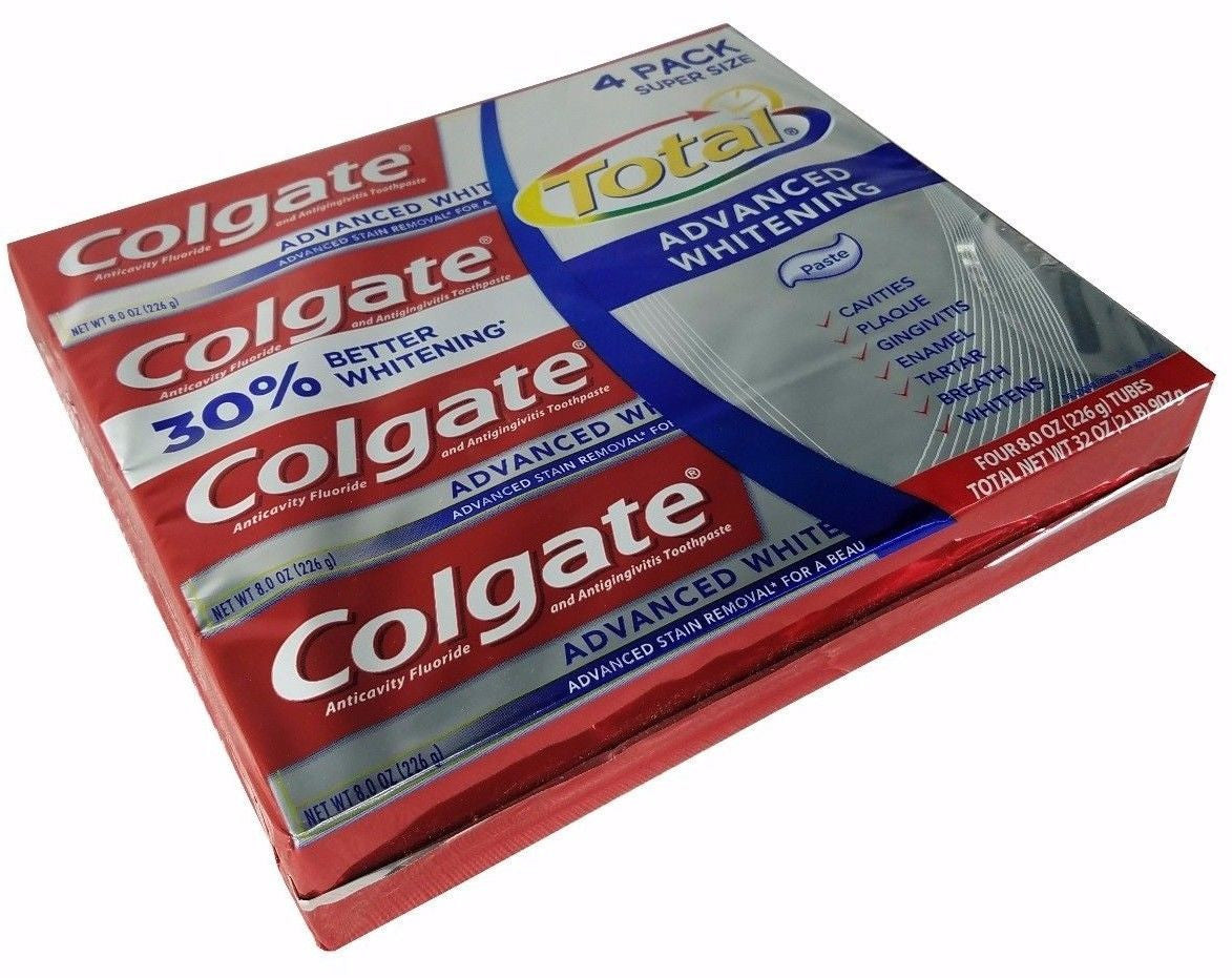 Colgate Total Advanced Whitening Toothpaste Super Size 8oz Each 4 Pack