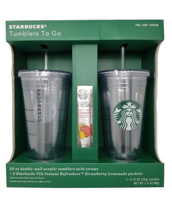 Starbucks Tumblers To Go 20 OZ Double-Wall Acrylic with Straws 2 Pack
