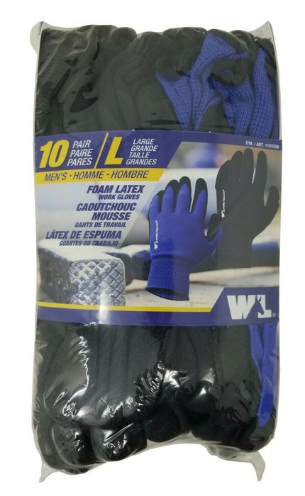 Wells Lamont Men's Soft Foam Latex Work Gloves 10 Pack - Large