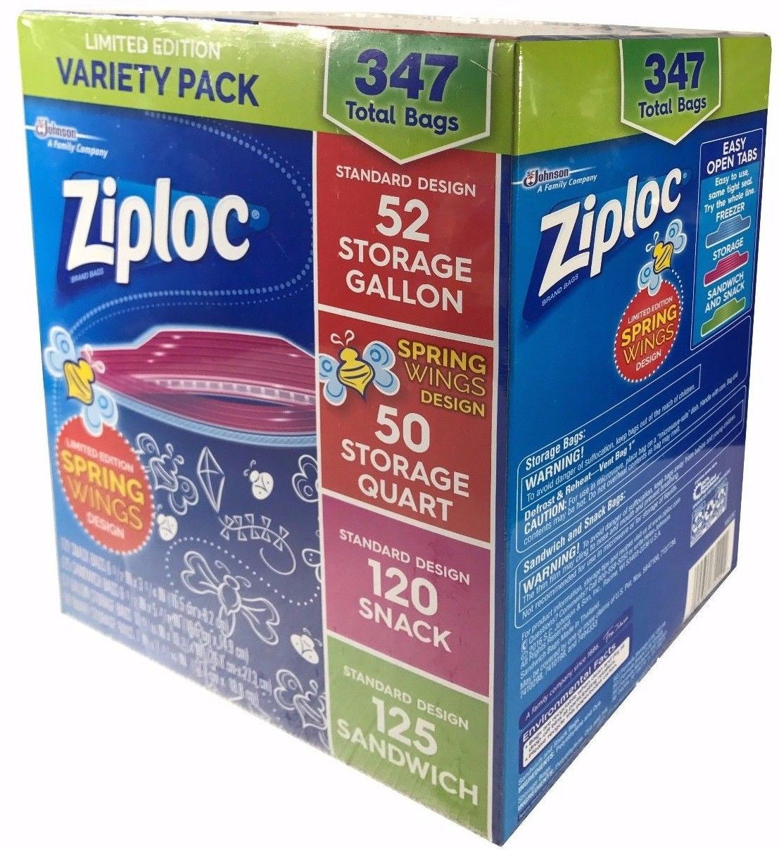 Ziploc Variety Pack Gallon, Quart, Snack & Sandwich Storage 347 Bags