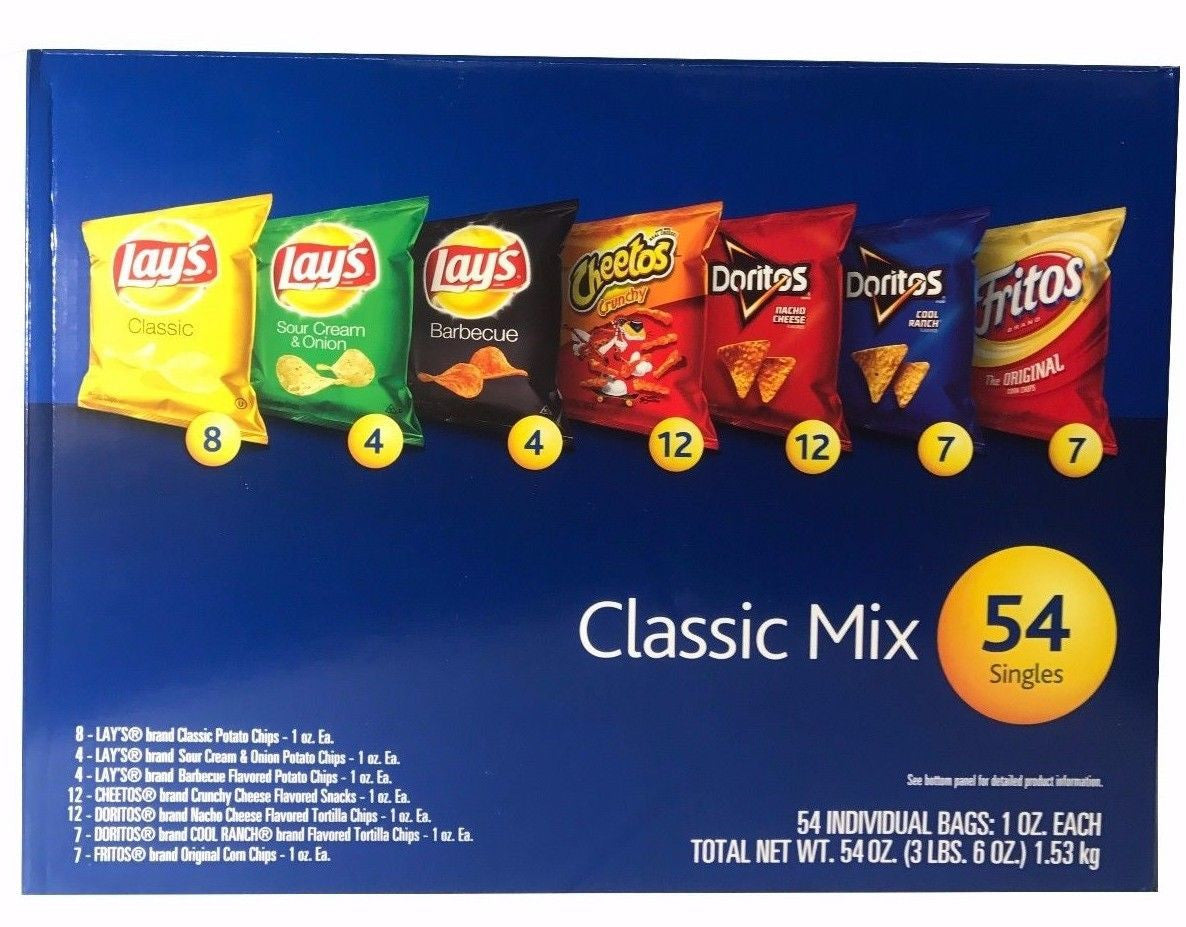 Frito Lay Classic Mix 7 Flavors 1oz Singles 54 Individual Bags