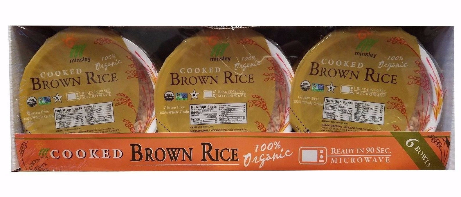 Minsley Cooked Brown Rice Bowl Organic Whole Grain Vegan 6 Bowls 3.7 OZ Each
