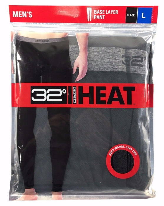 32 Degrees Heat Men's Base Layer Pant - Black - L