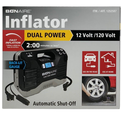 Bonaire Inflator Dual Power 12/120 Volt, Fast, Automatic Shut-Off, Digital Gauge