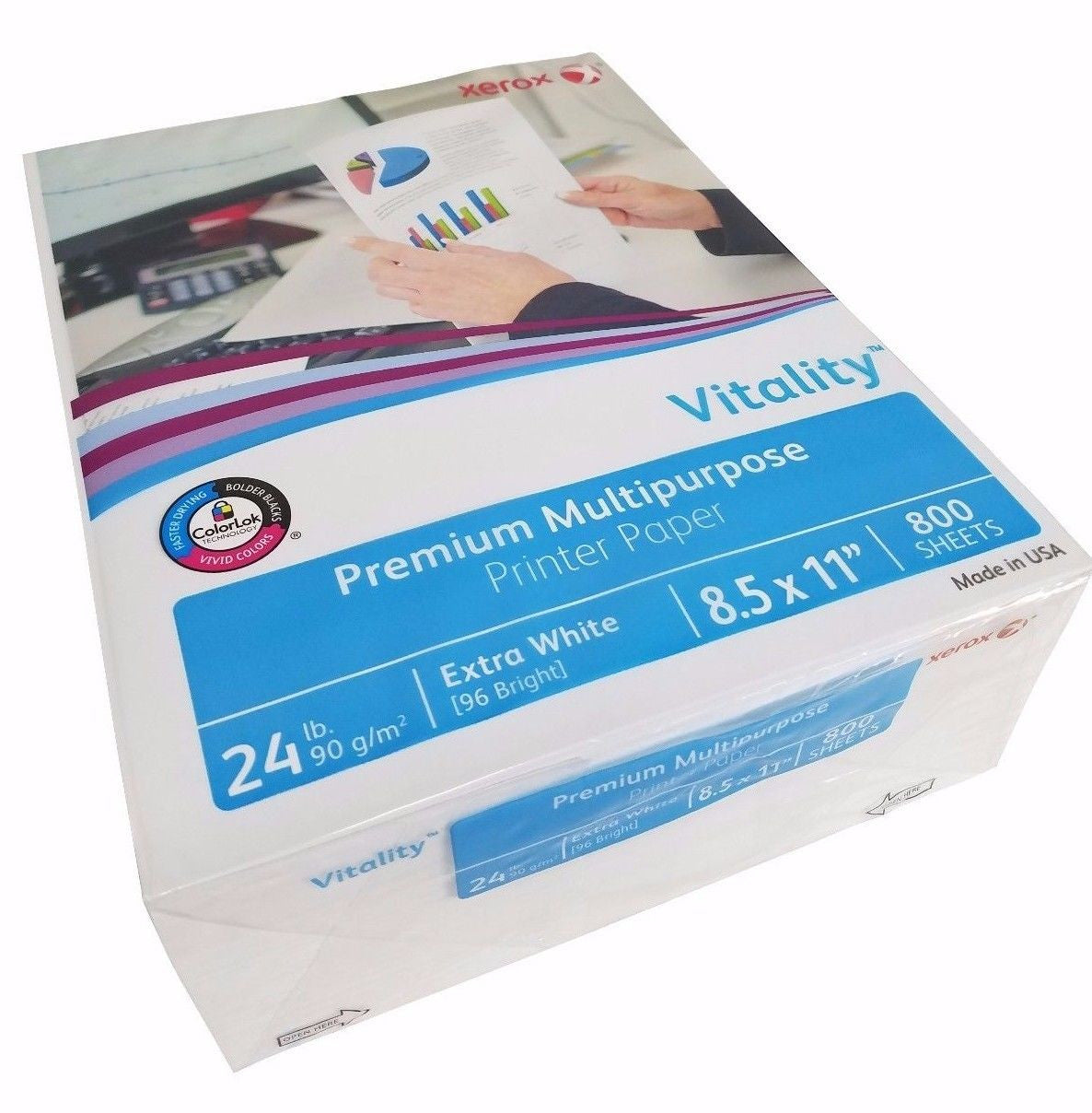 Xerox Vitality Premium Multipurpose Printer Paper 24lb Extra White 800 Sheets