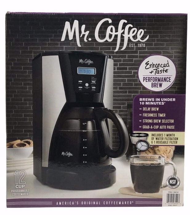 Mr.Coffee 12 Cup Programmable Coffeemaker 1 Reusable Filter Brews Under 10 min