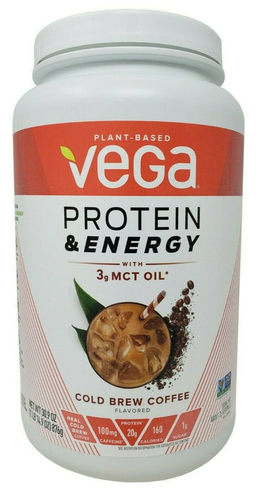 Vega Protein & Energy with MCT Oil Cold Brew Coffee Flavored Plant-Based 30.9 OZ