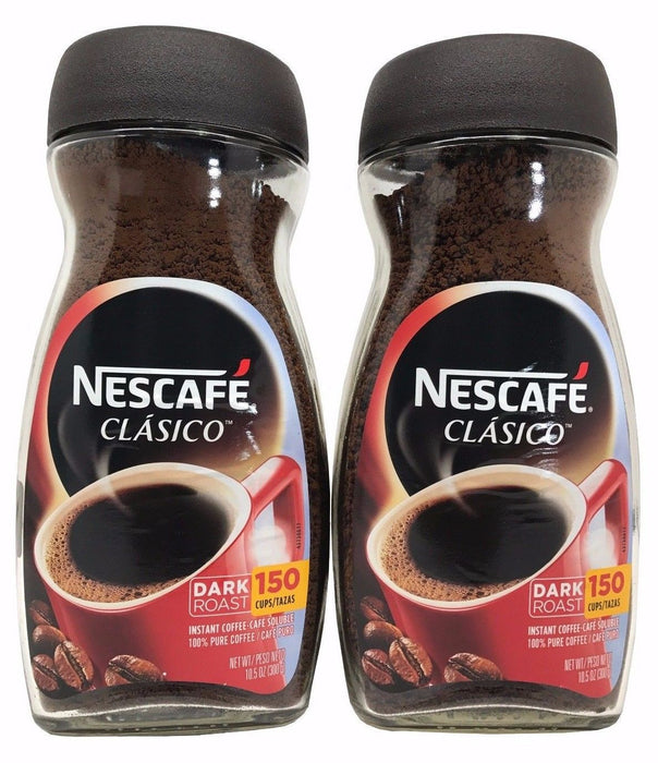 Nescafe Clasico Dark Roast 100% Pure Instant Coffee 10.5 OZ 150 Cups Each 2 Pack