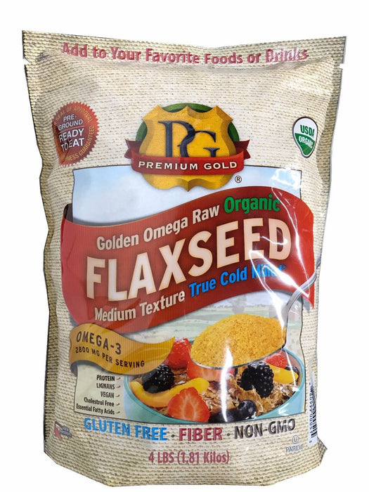 Premium Gold Organic Flax Golden Omega Raw Flaxseed True Cold Milled 4 lb