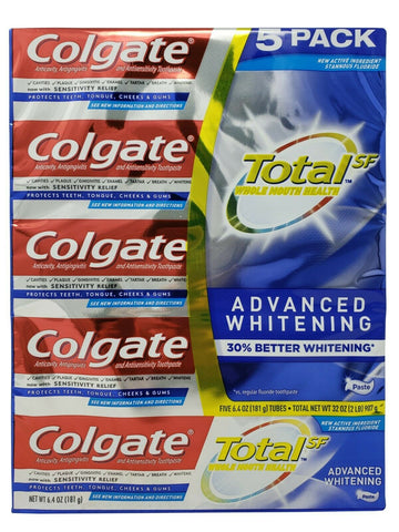 Colgate Total Whole Mouth Health Advanced Whitening Toothpaste 32 OZ - 5 Pack