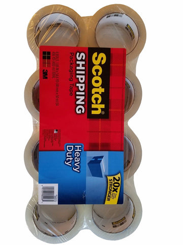 8 Rolls Scotch 3M Heavy Duty Shipping Packaging Tape 1.88in x 54.6yd
