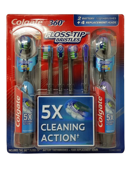 Colgate 360 Floss-Tip Bristles Battery Toothbrushes 2 Pack + 4 Heads - Soft