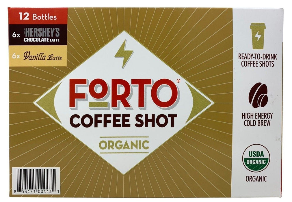 Forto Organic Coffee Shot Hershey's Chocolate & Vanilla Late 12 Bottles