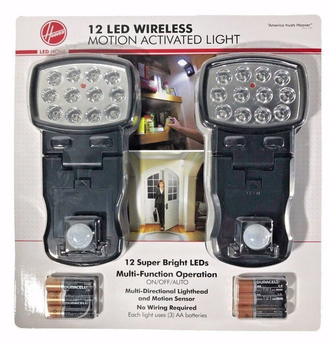 Hoover 12 LED Wireless Motion Activated Light On/Off/Auto with Batteries 2 Pack