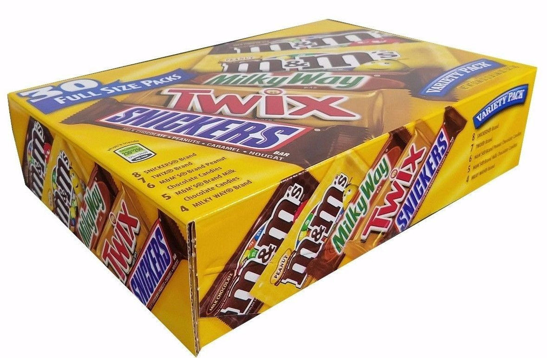 Mars Candy Bars Snickers, M&M's Milk/Peanuts, Twix, Milky Way 30 Full Size Pack