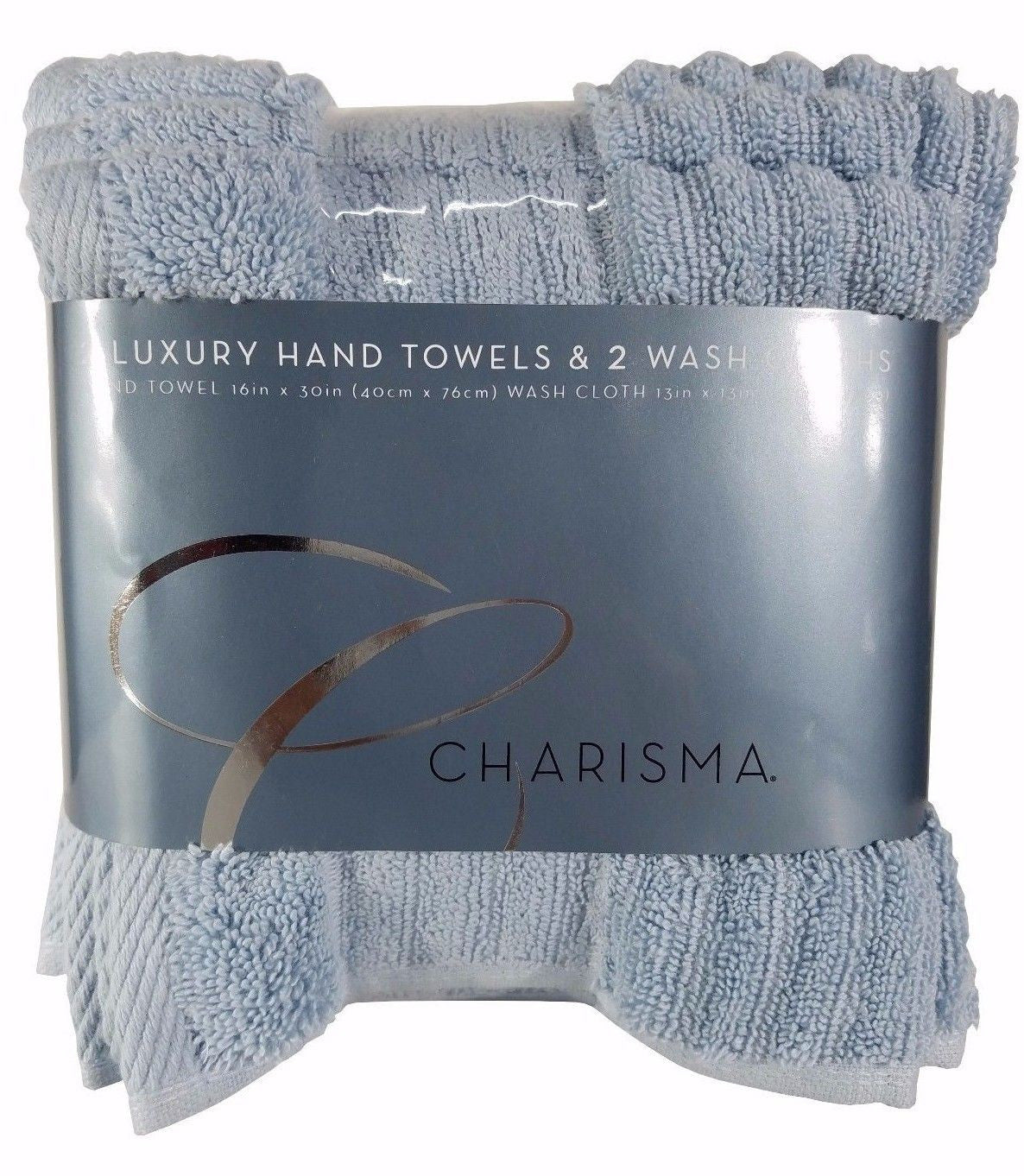 Charisma 2 Luxury Hand Towels & 2 Wash Cloths 100% Hygro Cotton 4pk - Bay Blue