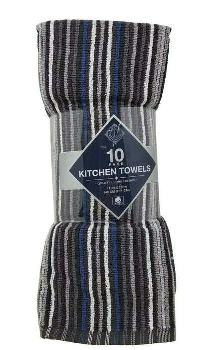 Luxe Living Kitchen Towels 100% Cotton 10 Pack - Granite
