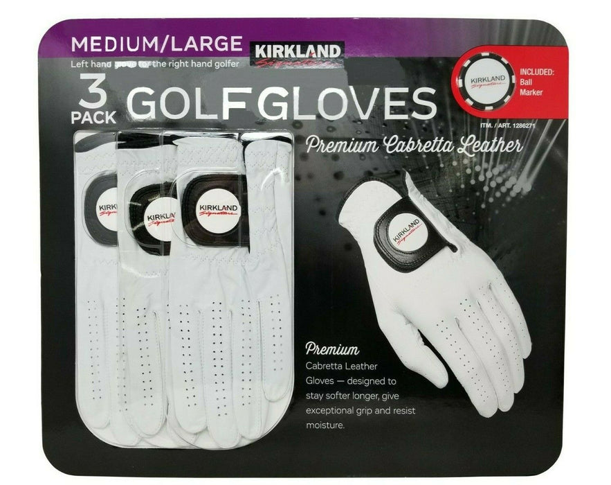 Kirkland Signature Golf Gloves Premium Cabretta Leather 3 Pack - Medium/Large