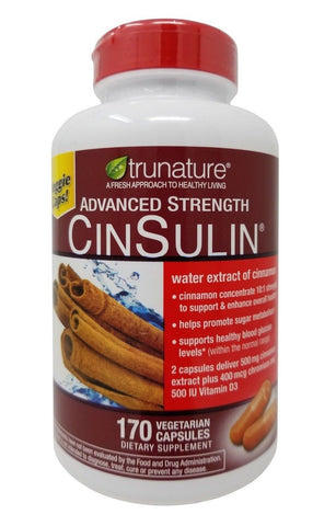 Trunature Advanced Strength CinSulin Water Extract of Cinnamon 170 Capsules