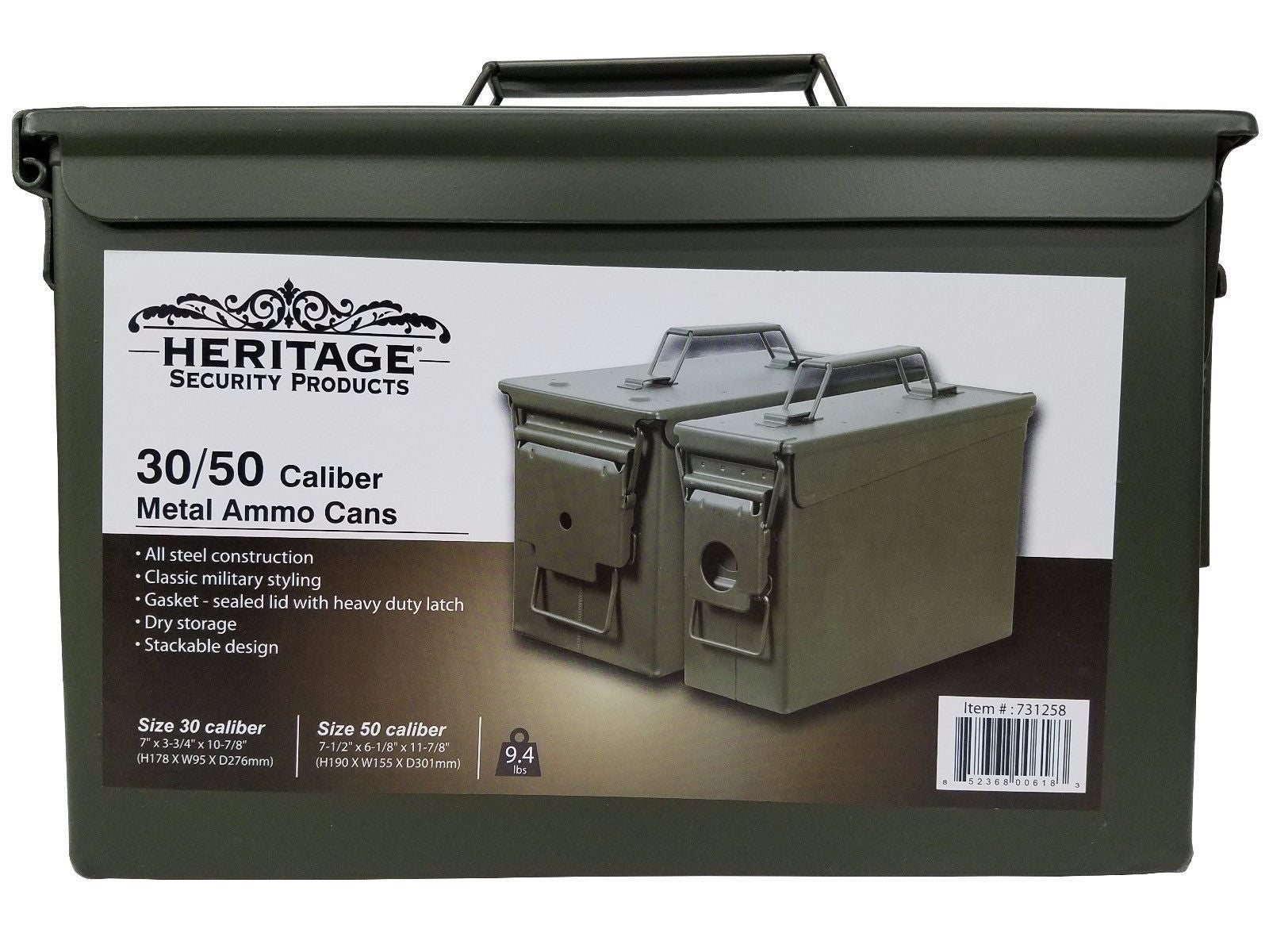 Heritage Security 30/50 Caliber Metal Ammo Cans Steel Military Style 2 Pack