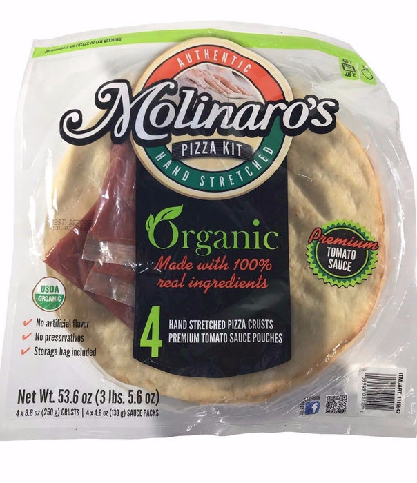 Authentic Molinaro's Pizza Kit Organic 4 Hand Stretched Pizza Crusts 53.6 OZ