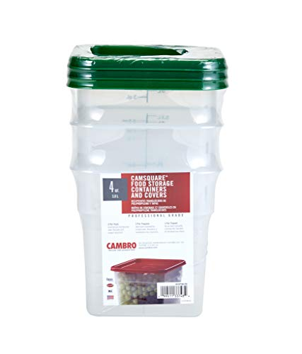 Cambro Set of 3 Square Food Storage Containers with Lids, 4 Quart