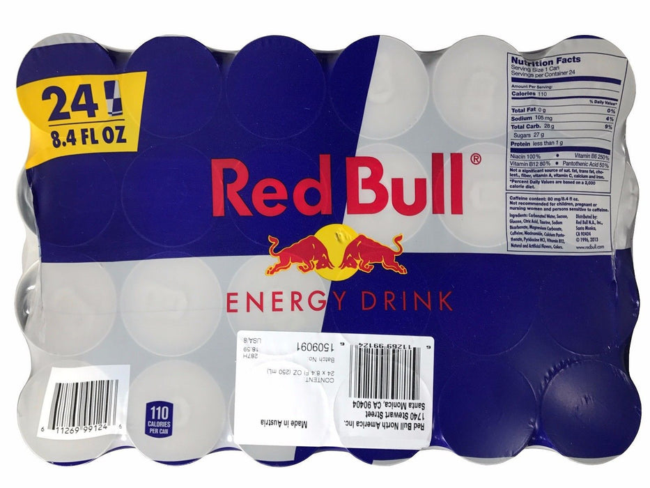 Red Bull Energy Drink 8.4 FL OZ 110 Calories Per Can 24 Pack