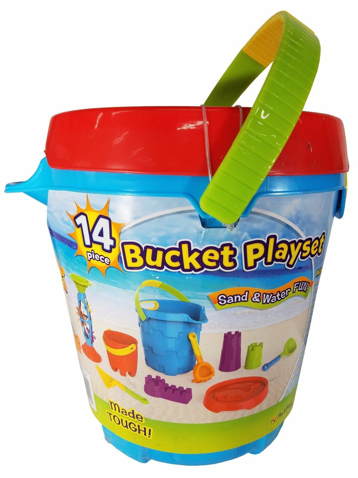 Made for Fun 14 Piece Bucket Playset for Sand and Water Fun - Blue