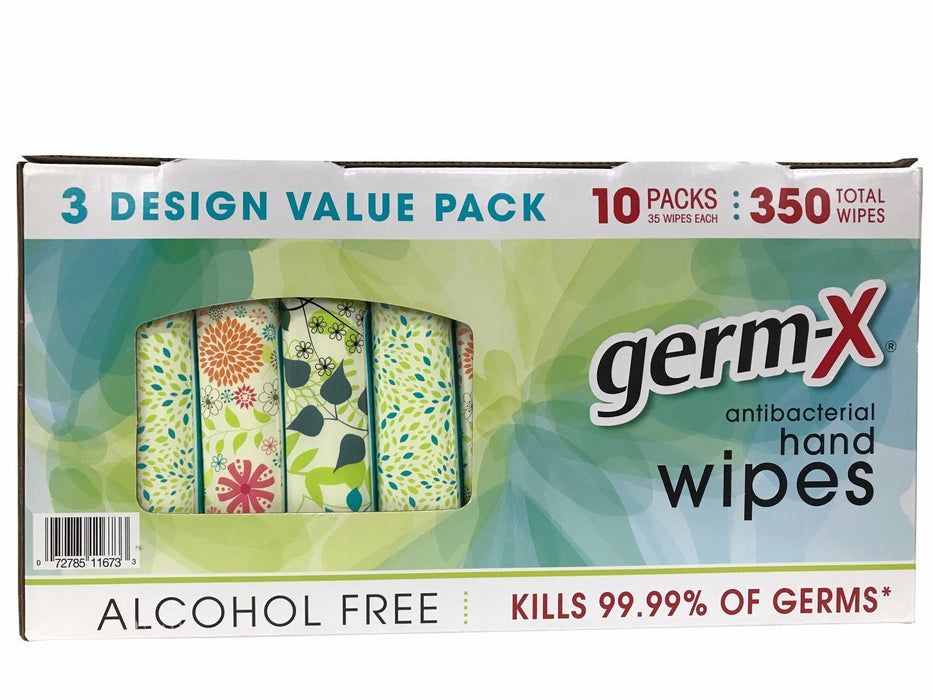 Germ-X Antibacterial Hand Wipes 3 Design Value Pack 350 Total Wipes