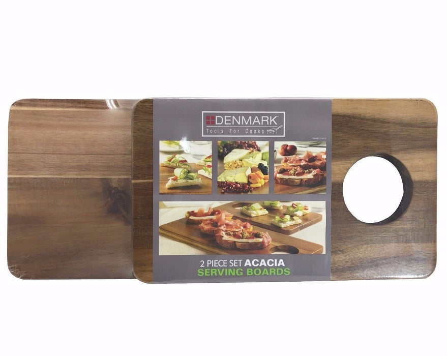 Denmark Tools for Cooks Serving Boards 2 Piece Set Acacia 20x8.25 & 14x8.25