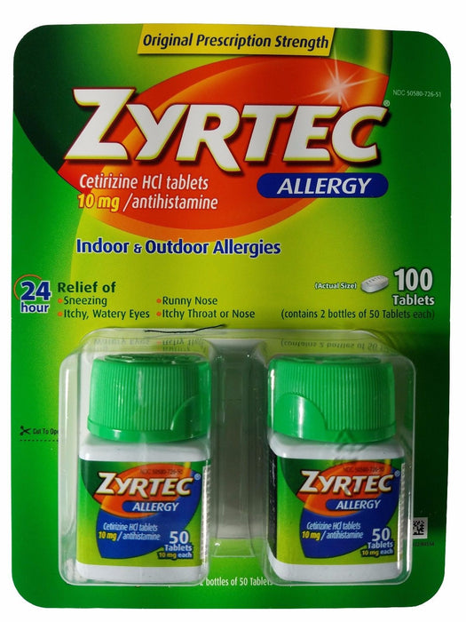 Zyrtec Allergy Cetirizine HCI 10mg, Antihistamine 24hr Relief 100 Tablets