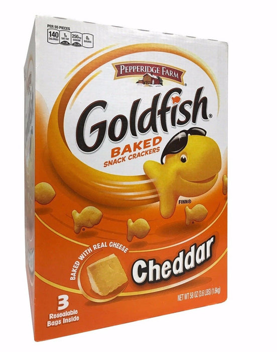 Pepperidge Farm Goldfish Cheddar Baked Snack Crackers 3 Resealable Bags 3.6 LB