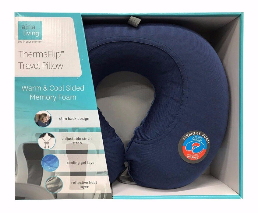 Airia Living Thermaflip Travel Pillow Warm & Cool Sided Memory Faom - Blue