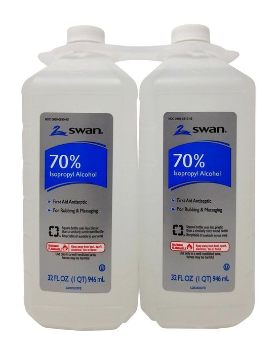 Swan 70% Isopropyl Alcohol First Aid Antiseptic & Massaging 2 Pack 32 FL OZ Each