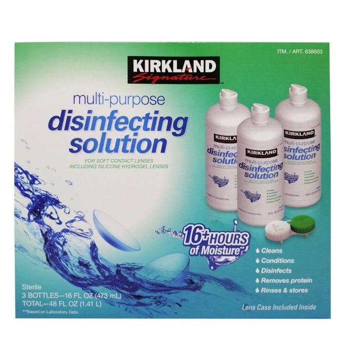 Kirkland Signature Multi-Purpose Disinfecting Solution 3 Pack Net 48 FL OZ